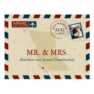 Merci l'épousant du par avion | de carte postale