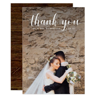 Merci | l'épousant rustique moderne de photo carton d'invitation  12,7 cm x 17,78 cm
