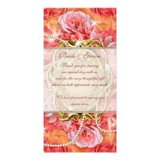 """""""merci"""" les perles roses de fleur vintage cartes de vœux avec photo"""