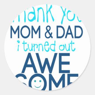 merci maman et papa que je me suis avéré sticker rond