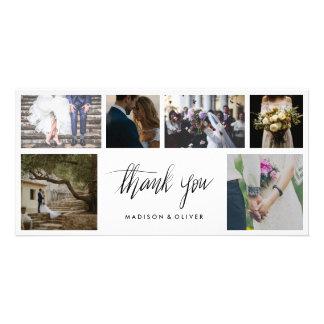 Merci manuscrit de mariage six collages de photo carte