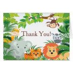 Merci moderne de baby shower de safari de jungle carte de correspondance