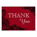 Merci moderne rouge de Goth de dentelle noire Cartes De Vœux