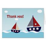 Merci nautique de baby shower de bébé de voilier carte de correspondance