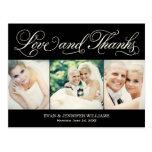 Merci noir de mariage d'amour et de mercis | cartes postales