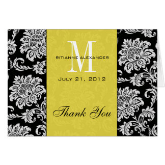 Merci noir de mariage de monogramme de jaune de da carte de vœux