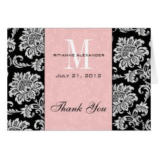 Merci noir de mariage de monogramme de rose de dam cartes de vœux