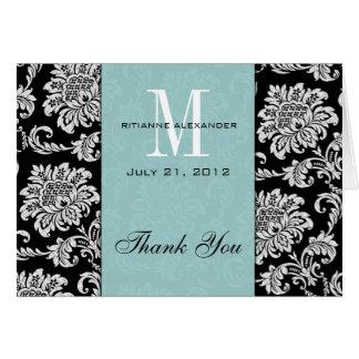 Merci noir de mariage de monogramme de Tiffany de Carte De Vœux