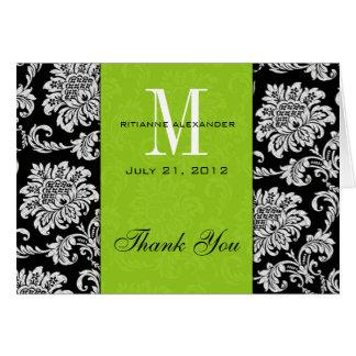 Merci noir de mariage de monogramme de vert de carte de vœux