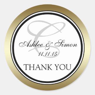 Merci noir de mariage du monogramme C d'or Sticker Rond