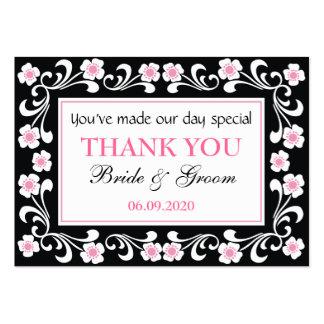 Merci noir épousant des étiquettes de cadeau de carte de visite grand format