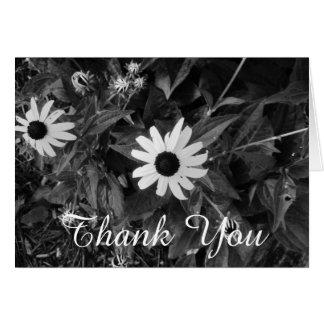 Merci noir et blanc classique de fleur cartes de vœux