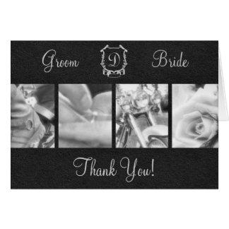 Merci noir et blanc élégant de mariage de cycliste cartes de vœux