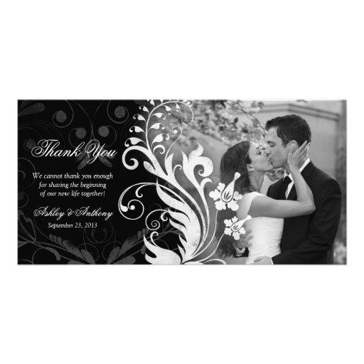 Merci noir et blanc floral Photocard de mariage Cartes De Vœux Avec Photo