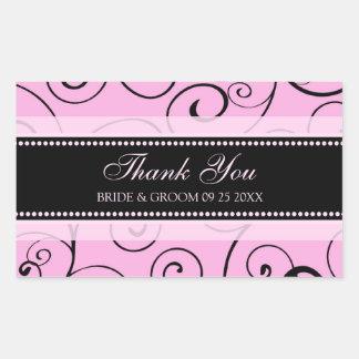Merci noir et rose épousant des étiquettes de sticker rectangulaire