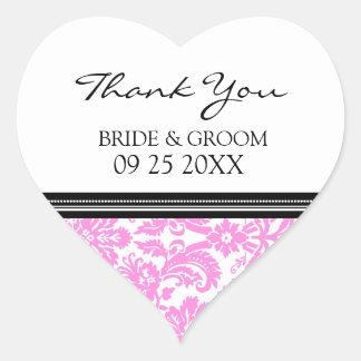 Merci noir rose de damassé épousant des étiquettes sticker cœur