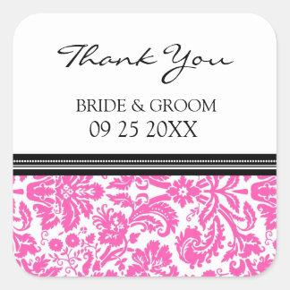 Merci noir rose de damassé épousant des étiquettes sticker carré