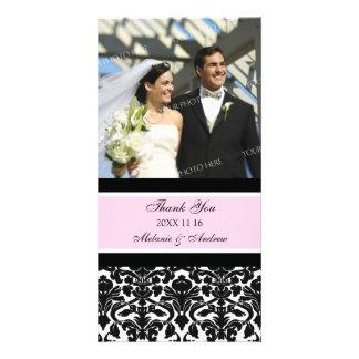 Merci noir rose épousant des cartes photos photocarte customisée