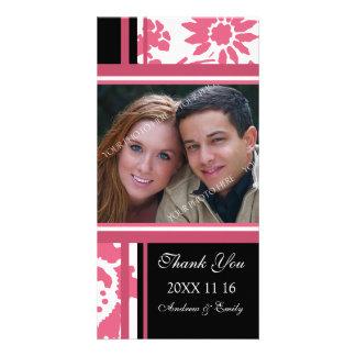 Merci noir rose épousant des cartes photos modèle pour photocarte