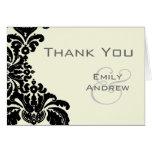 Merci noir vintage de mariage damassé cartes de vœux
