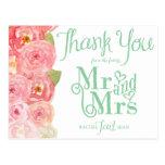 Merci nuptiale floral de douche de rose et de vert carte postale