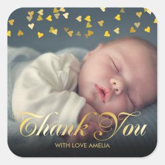 Merci personnalisé de bébé de photo sticker carré