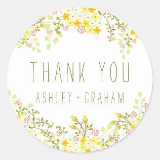 Merci personnalisé par mariage floral de gloire de sticker rond