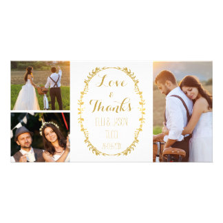 Merci Photocard de mariage de guirlande de feuille Photocarte