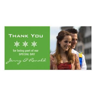 Merci PhotoCard de mariage de Noël de flocon de Cartes Avec Photo