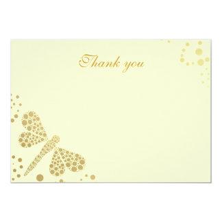 Merci plat de Pointillism de libellule d'ivoire et Carton D'invitation 12,7 Cm X 17,78 Cm