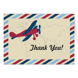 Merci plat vintage de par avion cartes de vœux