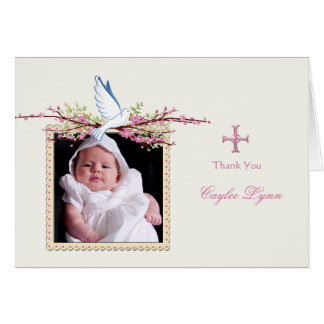 Merci plié par photo religieuse de colombe de cartes de vœux