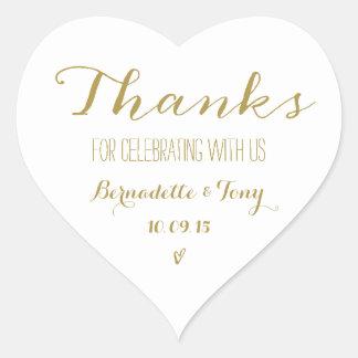 Merci pour célébrer avec nous ! Merci de mariage Sticker Cœur