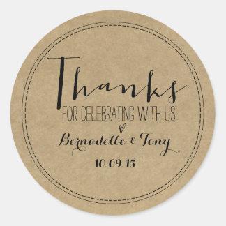 Merci pour célébrer avec nous ! Merci de mariage Sticker Rond