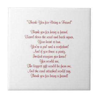 Merci pour être un ami - tuile/trépied petit carreau carré