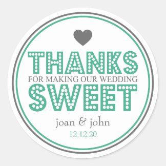 Merci pour faire notre bonbon à mariage vert gris