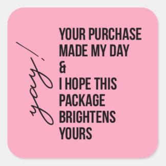 Merci pour l'autocollant d'achat sticker carré