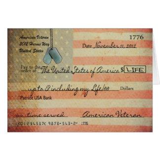 Merci pour le vétéran le jour de vétérans carte de vœux