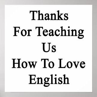 Merci pour nous enseignant comment aimer l'anglais poster