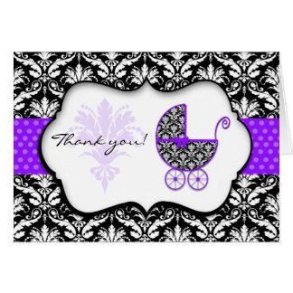 Merci pourpre chic de baby shower de damassé de cartes de vœux
