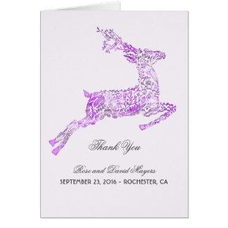 Merci pourpre de mariage avec des cerfs communs cartes de vœux