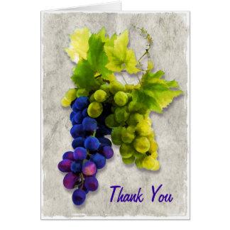 Merci pourpre et vert de raisins carte de vœux