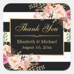 Merci rayé blanc noir floral de cadre d'or sticker carré