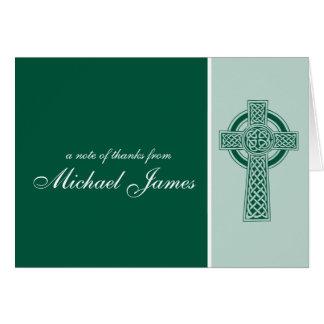 Merci religieux de communion de croix première cartes de vœux