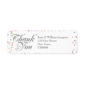 Merci romantique de mariage de confettis étiquette d'adresse retour