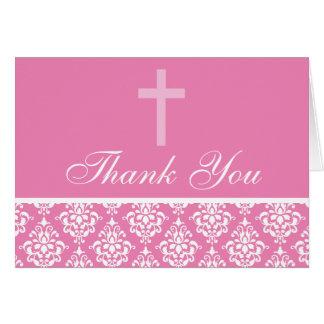 Merci rose de baptême de fille de croix de damassé cartes de vœux