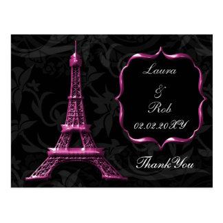 Merci rose de Français de Tour Eiffel Carte Postale