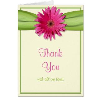 Merci rose de mariage de ruban de vert de carte de vœux