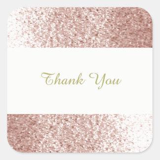 Merci rose de parties scintillantes de Faux d'or Sticker Carré