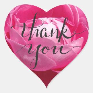 Merci rose de pétale de rose sticker cœur